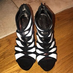 Black and white heels